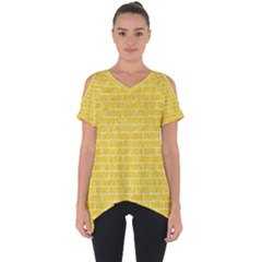Brick1 White Marble & Yellow Colored Pencil Cut Out Side Drop Tee