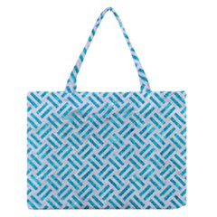 Woven2 White Marble & Turquoise Marble (r) Zipper Medium Tote Bag by trendistuff