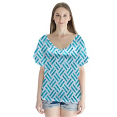 Woven2 White Marble & Turquoise Marble (r) V Neck Flutter Sleeve Top