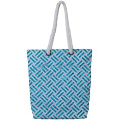 Woven2 White Marble & Turquoise Marble (r) Full Print Rope Handle Tote (small) by trendistuff