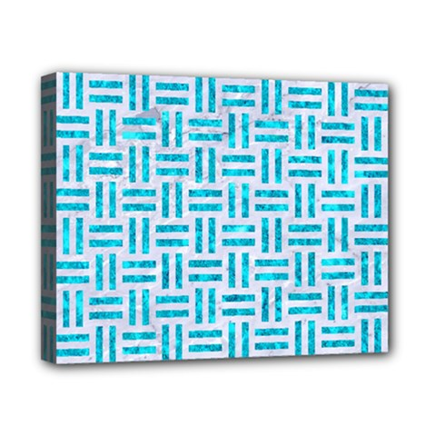 Woven1 White Marble & Turquoise Marble (r) Canvas 10  X 8  by trendistuff