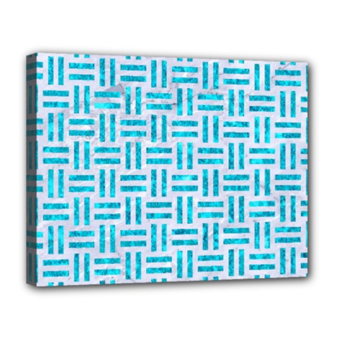 Woven1 White Marble & Turquoise Marble (r) Canvas 14  X 11  by trendistuff