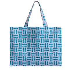 Woven1 White Marble & Turquoise Marble (r) Zipper Mini Tote Bag by trendistuff
