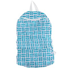 Woven1 White Marble & Turquoise Marble (r) Foldable Lightweight Backpack