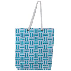 Woven1 White Marble & Turquoise Marble (r) Full Print Rope Handle Tote (large) by trendistuff