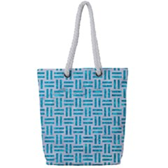 Woven1 White Marble & Turquoise Marble (r) Full Print Rope Handle Tote (small) by trendistuff