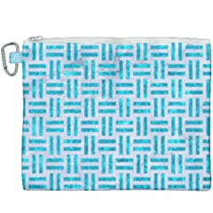 Woven1 White Marble & Turquoise Marble (r) Canvas Cosmetic Bag (xxxl) by trendistuff