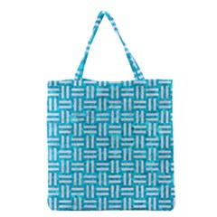 Woven1 White Marble & Turquoise Marble Grocery Tote Bag by trendistuff