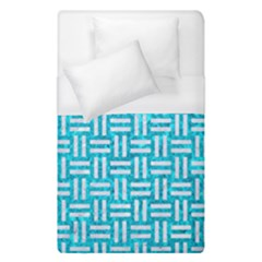 Woven1 White Marble & Turquoise Marble Duvet Cover (single Size) by trendistuff