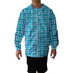 Woven1 White Marble & Turquoise Marble Hooded Wind Breaker (kids)