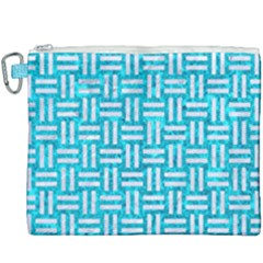 Woven1 White Marble & Turquoise Marble Canvas Cosmetic Bag (xxxl) by trendistuff