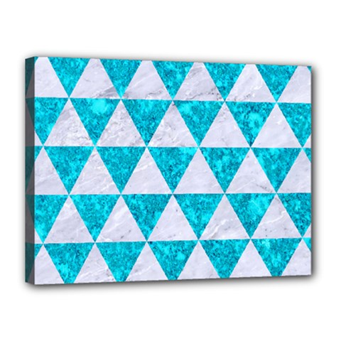 Triangle3 White Marble & Turquoise Marble Canvas 16  X 12  by trendistuff