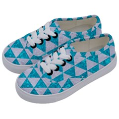 Triangle3 White Marble & Turquoise Marble Kids  Classic Low Top Sneakers by trendistuff