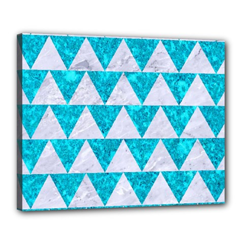 Triangle2 White Marble & Turquoise Marble Canvas 20  X 16  by trendistuff