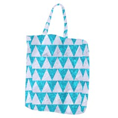 Triangle2 White Marble & Turquoise Marble Giant Grocery Zipper Tote by trendistuff