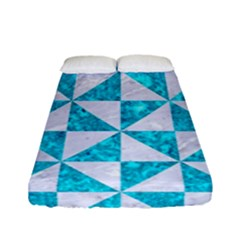 Triangle1 White Marble & Turquoise Marble Fitted Sheet (full/ Double Size) by trendistuff