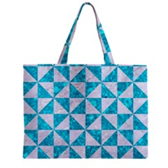 Triangle1 White Marble & Turquoise Marble Zipper Mini Tote Bag by trendistuff