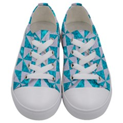 Triangle1 White Marble & Turquoise Marble Kids  Low Top Canvas Sneakers