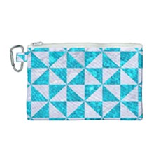Triangle1 White Marble & Turquoise Marble Canvas Cosmetic Bag (medium) by trendistuff