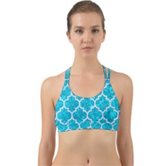 Tile1 White Marble & Turquoise Marble Back Web Sports Bra