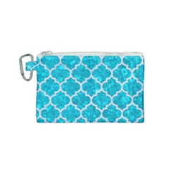 Tile1 White Marble & Turquoise Marble Canvas Cosmetic Bag (small) by trendistuff