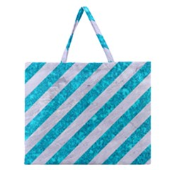 Stripes3 White Marble & Turquoise Marble (r) Zipper Large Tote Bag by trendistuff