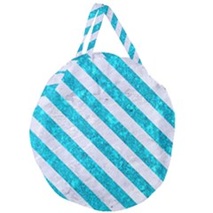 Stripes3 White Marble & Turquoise Marble Giant Round Zipper Tote
