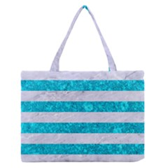 Stripes2white Marble & Turquoise Marble Zipper Medium Tote Bag by trendistuff