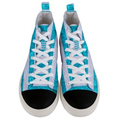 Stripes2white Marble & Turquoise Marble Men s Mid Top Canvas Sneakers