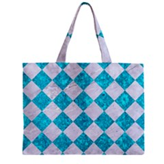 Square2 White Marble & Turquoise Marble Zipper Mini Tote Bag by trendistuff