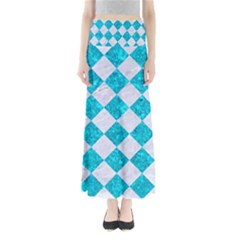 Square2 White Marble & Turquoise Marble Full Length Maxi Skirt by trendistuff