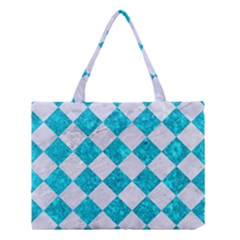 Square2 White Marble & Turquoise Marble Medium Tote Bag by trendistuff