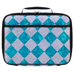 Square2 White Marble & Turquoise Marble Full Print Lunch Bag by trendistuff
