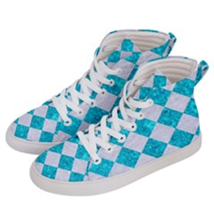 Square2 White Marble & Turquoise Marble Men s Hi Top Skate Sneakers by trendistuff