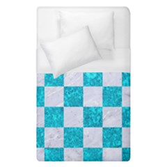 Square1 White Marble & Turquoise Marble Duvet Cover (single Size) by trendistuff