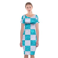 Square1 White Marble & Turquoise Marble Classic Short Sleeve Midi Dress by trendistuff