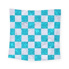 Square1 White Marble & Turquoise Marble Square Tapestry (small)