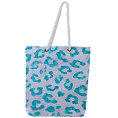 Skin5 White Marble & Turquoise Marble Full Print Rope Handle Tote (large) by trendistuff