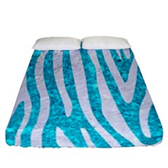 Skin4 White Marble & Turquoise Marble (r) Fitted Sheet (queen Size) by trendistuff