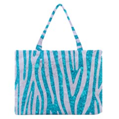 Skin4 White Marble & Turquoise Marble (r) Zipper Medium Tote Bag by trendistuff