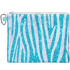 Skin4 White Marble & Turquoise Marble (r) Canvas Cosmetic Bag (xxxl) by trendistuff