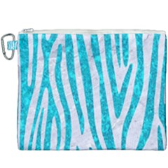 Skin4 White Marble & Turquoise Marble Canvas Cosmetic Bag (xxxl) by trendistuff