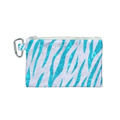 Skin3 White Marble & Turquoise Marble (r) Canvas Cosmetic Bag (small) by trendistuff