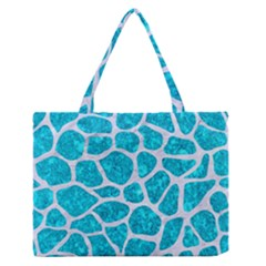 Skin1 White Marble & Turquoise Marble (r) Zipper Medium Tote Bag by trendistuff