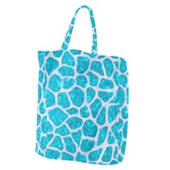 Skin1 White Marble & Turquoise Marble (r) Giant Grocery Zipper Tote by trendistuff