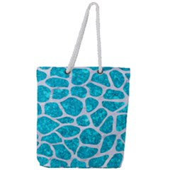 Skin1 White Marble & Turquoise Marble (r) Full Print Rope Handle Tote (large) by trendistuff