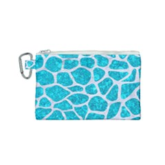 Skin1 White Marble & Turquoise Marble (r) Canvas Cosmetic Bag (small) by trendistuff