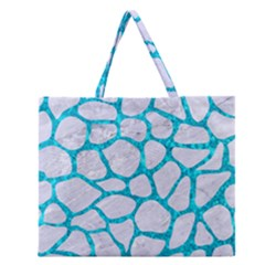 Skin1 White Marble & Turquoise Marble Zipper Large Tote Bag by trendistuff