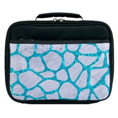 Skin1 White Marble & Turquoise Marble Lunch Bag by trendistuff