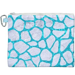 Skin1 White Marble & Turquoise Marble Canvas Cosmetic Bag (xxxl) by trendistuff